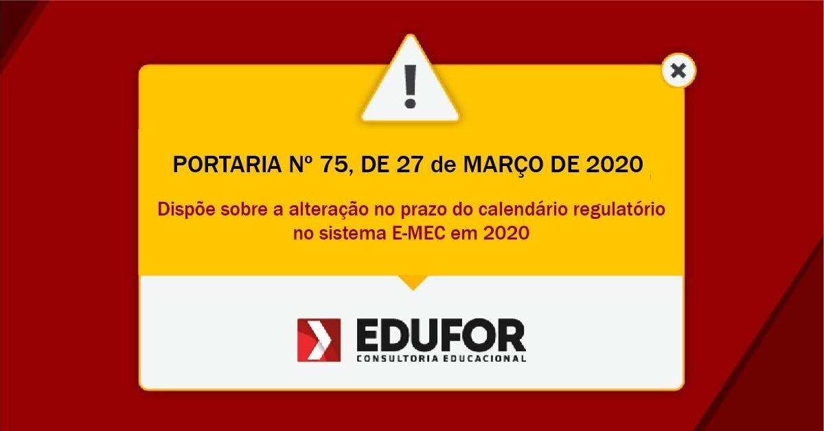 PORTARIA Nº 75, DE 27 DE MARÇO DE 2020